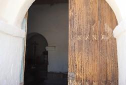 Die Tür der Kolonialkirche San Francisco der Chiu Chiu wurde aus Kaktusholz gefertigt.