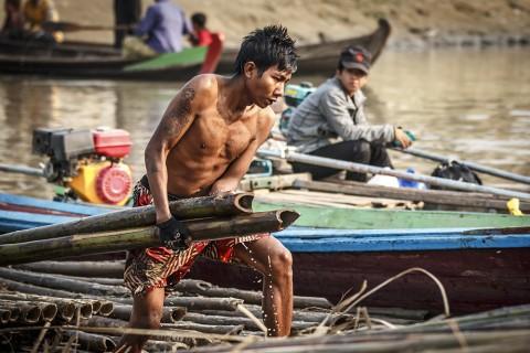 Ein Arbeiter in Mandalay verlädt Bambus am Hafen des Ayayarwady- Flusses.